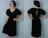 1930s Bittersweet dress | vintage 30s darkest brown silk velvet dress | m/l