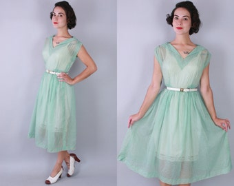 1940s Sea Spray dress | vintage 40s 50s sheer nylon dress with white flocked dots | small