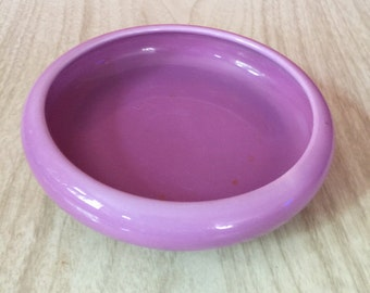 Vintage Purple Ceramic Footed Saucer Bowl Planter