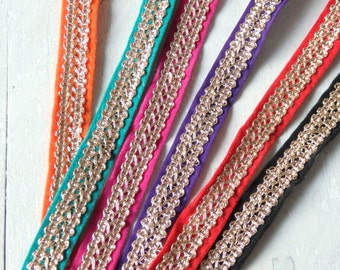 Indian sari border - ONE yard of velour sari trim, 18-19mm sari trim with metallic gold thread - CHOOSE your colour! - 1 yd.