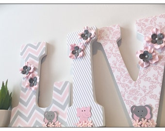 Pink and Gray. Grey. Elephants. Wooden Letters. Elephant Nursery. Pink and Grey. Nursery decor. Name letters. Flowers. Pink. Nursery Ideas.