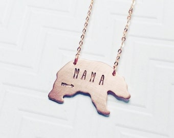 Mama Bear Necklace - Hand Stamped Necklace - Gift For Mom - Gift For Her - Christmas Gift - Copper Rose Gold - Arrow