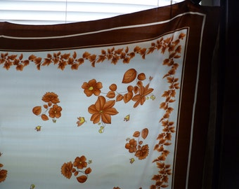 Vintage Scarf, Shades of Brown and White, Leaves and Flowers, Milano
