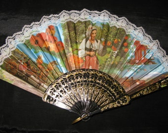 Spanish Hand Fan, Vintage Lace Folding French Spanish Style Accessory