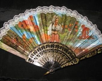 Gypsy Costume Fan / Spanish Hand Fan / Vintage Lace Folding French Spanish Style Accessory