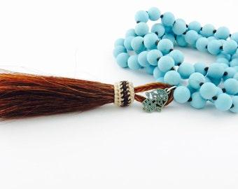 Boho Tassel Necklace - Long Turquoise Necklace - Boho Jewelry - Hamsa Necklace Horse Hair Tassel necklace Handmade USA