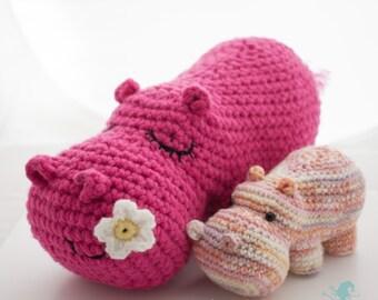 An amigurumi Hippo plushie for your pocket crochet pdf pattern hippopotamus