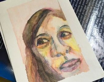 Original Watercolor Portrait Painting/ Illustration- Expression Study III