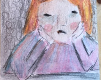 Original ACEO Watercolor Painting: In a Bad MOOD
