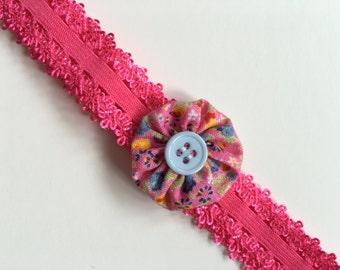 Pink flower baby headband