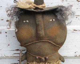 Primitive Grungy Halloween  Folk Art~ Witch Winnly Doll~Hafair Team