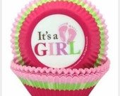 """50 """"Its a Girl"""" or """"Its a Boy"""" Cupcake Liners/Bakers cup"""