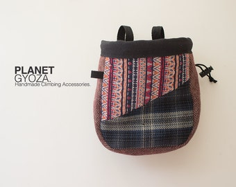 Chalk Bag - patchwork stripes and blue plaid / outdoor climbing / gift for climber