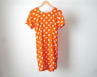 90s MAXI polka dot GRUNGE orange melrose era dress