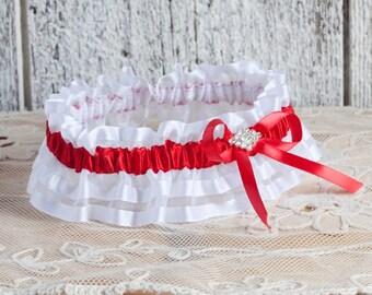 Bridal red garter/Wedding red garter/Prom garter/Red and white garter/Rhinestones garter/Toss garter/Wedding organza garter/Prom 2017 garter