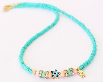 Turquoise necklace, beaded necklace, evil eye necklace, pink turquoise beads, best friend birthday gift, mother gift