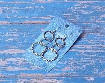 Denim Hammered Circle Earrings