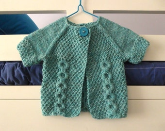 Blue-green baby sweater, short sleeves | layering baby knit | easy wear knit for boy or girl | cabled cardigan 0-3 months