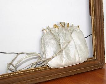 Vintage Cream and Gold Purse Shoulder Bag - Brass Frame Handbag - Sharif Made in USA