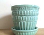 Aqua Blue Vintage McCoy Flower Pot