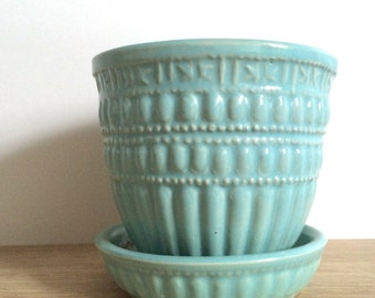 Aqua Blue Vintage McCoy Flower Pot