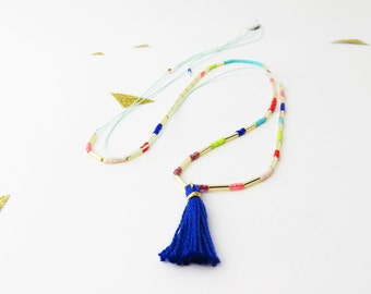 Tassel beaded necklace // Tassel necklace // Multicolore long necklace // Neon yellow tassel necklace