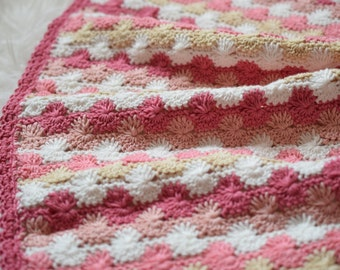 Crocheted Blanket, Cotton Blanket, Pink, White Blanket, Shower Gift, Photo Prop