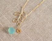 Personalized Initial Monogram Aqua Chalcedony and Twig Lariat on Gold Filled Chalcedony Gemstone Aqua Bridesmaid Jewelry Gift Wedding