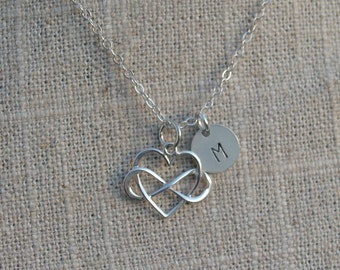 Infinity Heart Necklace with Initial - Personalized Disc Necklace - Solid 925 Sterling Silver Necklace - Infinity Eternity - Mom Sister Gift