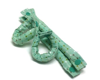 7 1/2 inch Green Fabric Hair Rollers, Hair Curlers, Hair Accessories, soft curlers