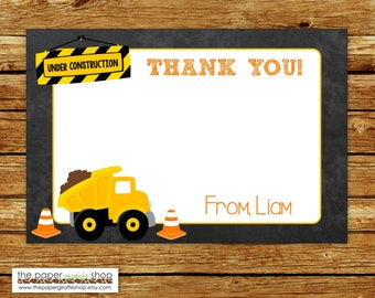 Construction Thank You Card | Construction Birthday Party Thank You Card | Dump Truck Thank You Card