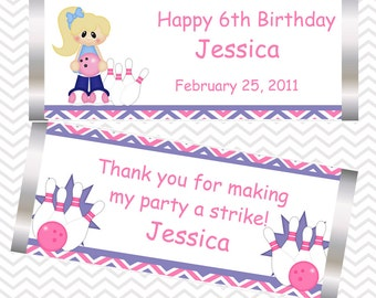 Bowling Girl - Personalized Candy Bar Wrapper