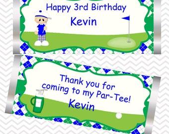 Golf Boy - Personalized Candy Bar Wrapper, Birthday, Baby Shower