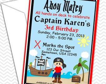 Pirate Boy Invitations PRINTABLE - Birthday Party - Baby Shower