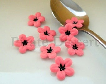 BOLD PINK  half inch (12mm) Fondant Blossoms - Edible cake decorations (Bold Pink and black) 12 pieces)