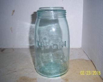 1890's The Gem Quart Fruit Canning Mason Jar BLUE Aqua 7 1/8 inch tall
