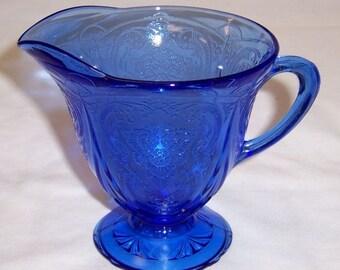 Hazel Altas Cobalt Blue ROYAL LACE Depression Glass Footed CREAMER