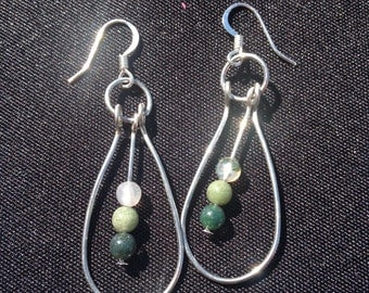Wire Wrap Earrings/ Wire Weave Earrings with Agate Beads/ Green Agate Beaded Earrings/ Wire Wrap Wire Weave Teardrop Earrings