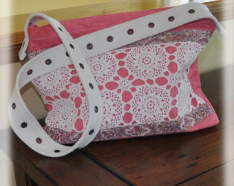 JOY! Tote, Retro inspired Purse Bag, Carry all Tote, Pink fabric white vintage crochet, repurposed belt, Cottage Chic, Pockets, Zipper, OOAK
