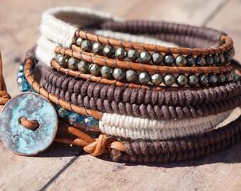 Boho Stack Leather Wrap Bracelet, 5X wrap, Bohemian, Herringbone Stitch, Pyrite, Teal Swarovski Crystal