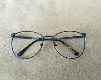 Meridian navy blue demi nerdy eyeglasses frames vintage 1980's 53-18-130