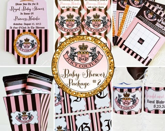 Juicy Couture Baby Shower - You Print - Juicy Couture Invitation | Juicy Couture Banner | Juicy Couture Party | Baby Shower Games | Favors