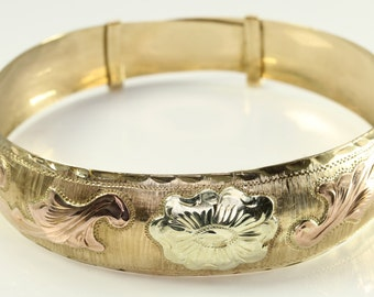 Vintage Gold Floral 10k Yellow & Rose Gold Cuff Style Bracelet Bangle