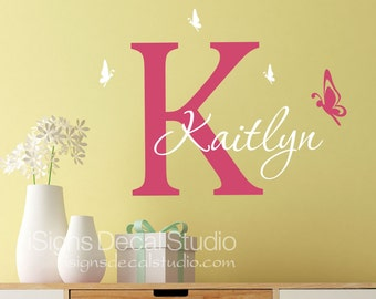 Butterfly wall decal - Girls Butterfly Decal - Custom Name Decal - Nursery Butterfly Decal - Butterfly Sticker -  Vinyl Wall Decals