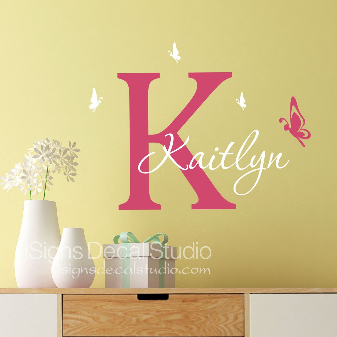 Butterfly wall decal Girls Butterfly Decal Custom Name