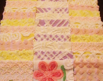 """36 Vintage Chenille Bedspread 6"""" Quilt Squares Fabric Kit Pink Purple Yellow"""