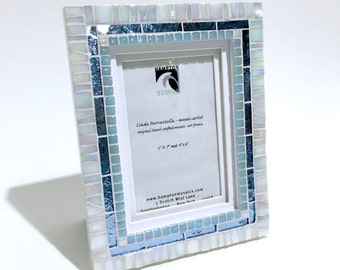 Wedding Gift Frame - Photo Frame Birthday Gift - White with Blue Mosaic Frame - Decorative Frame - Baby Shower Gift - Beach Decor Accents