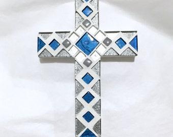 Godson Baptism Gift, Blue Gray Mosaic Wall Cross, Baptism Gift Boy, Nursery Cross, First Communion Gift, Dedication Gift, Confirmation Gift