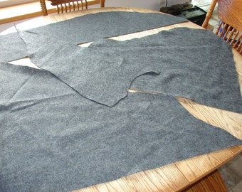 4 Gray Felt Pieces Scraps, crafting supplies, polyester felts, large fabric piece, felt fabrics, recycled crafts, craft felting supplies