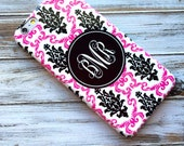 Pink Iphone 5s case, Damask Iphone 6s case, Floral iPhone 5c case, Monogram iPhone 6 Plus case, Fashion accessories, Black white pink (9852P